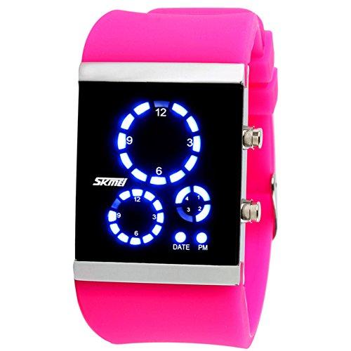 Unisex Paar gelee led elektronische Sport Uhren, Großen Bildschirm Bunte Kieselgel Armband Mode männer und Frauen DREI Windows Armbanduhr wasserdicht-E