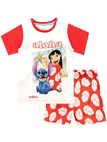 Disney Mädchen Lilo und Stitch Schlafanzug Rot 140