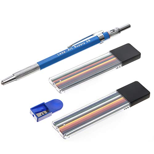 Leda Mechanical Colored Pencil set with two cases of colored lead and sharpener for professional or fun drawing and sketching and mixed media art
