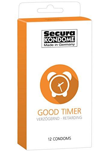 Secura Good Timer 12er Kondome - 12 durchsichtige Präservative zur Verhütung mit Benzocain für Männer, verlängert Erektion