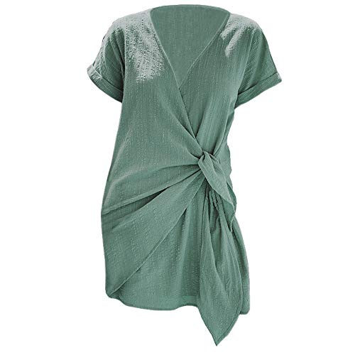U/Un vestido de verano con encaje con cuello en V Cross wrap falda de las mujeres