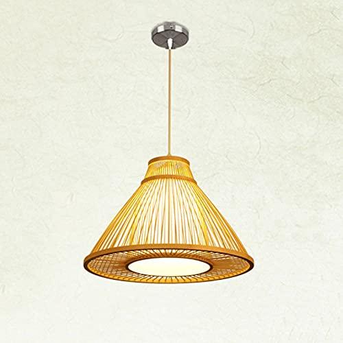 KAIKEA Lámpara Colgante de Estilo japonés con Forma de triángulo Techo de ratán Sombra de Mimbre Lámpara Colgante de bambú Retro Hueca E27 Lámpara Colgante de Granja para Sala de Estar con luz Tejida