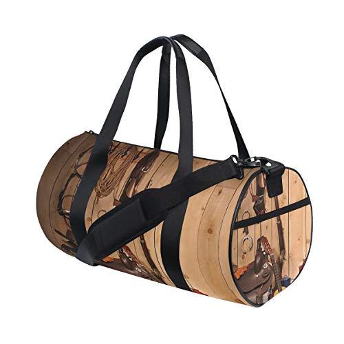 HARXISE Amerikanischer Westrodeo-Cowboystiefel-Hut und Gitarre im Land-Holzhaus,Reisegepäcktasche Sport Leichte Segeltuch Fitness Gepäcktrommel Handtasche Abnehmbar