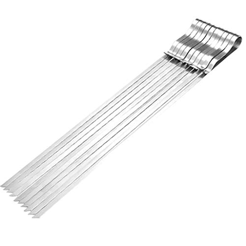 Buy Discount Easytoy Barbecue Stainless Steel Skewers Flat Metal Reusable Barbecue Skewers Long Shis...