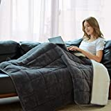 Weighted Blanket 10 lbs Kids 50' X 60' Twin Size Glass Beads Filling Sherpa Throw Heavy Blanket Adult (Grey, 50' 60' 10 lbs)