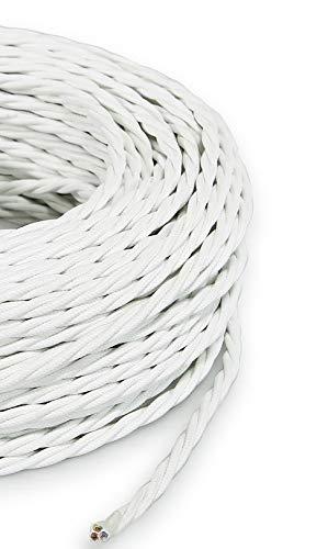 Cable eléctrico trenzado/trenzado revestido de tela. Color blanco. Sección 3 x 0,75 (5 metros)