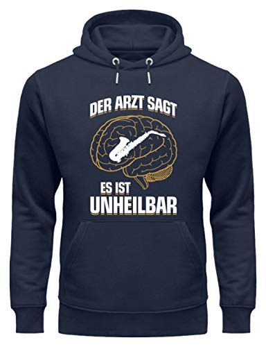 shirt-o-magic Saxophon: .es ist unheilbar - Unisex Organic Hoodie -XXL-Marineblau