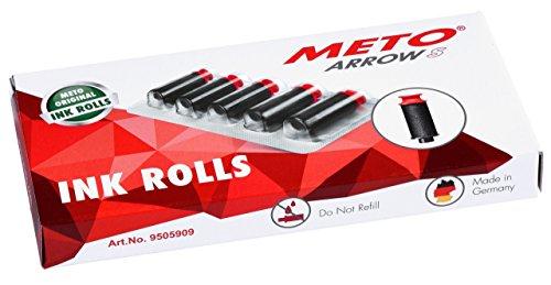 Original Meto Tintenrollen für Arrow S, Preisauszeichner 9505909 (1-zeilig, 8-stellig für 22 x 12 mm Etiketten) 5 Stück, schwarz