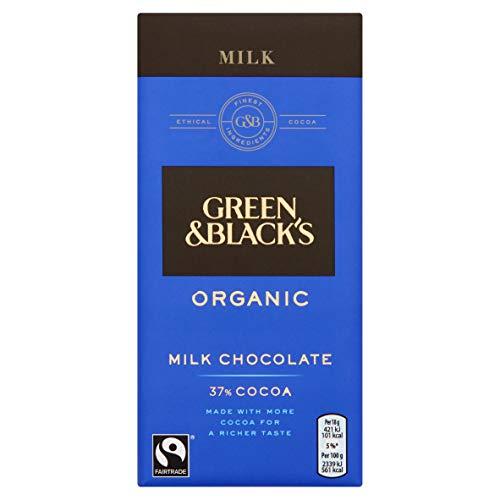 Green & Black's Organic Milk Chocolate Bar, 90 g, Pack of 15