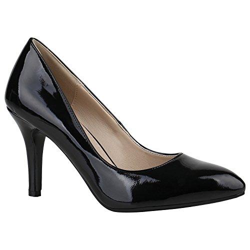 Spitze Damen Pumps Lack Schuhe Stilettos Elegant Party 152655 Schwarz Lack Bernice 39 Flandell