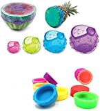 Food Fresh Cover Round Silicone Fruits and Vegetables Wrap Reusable Spherical Cling Film Plus Reusable Bottle Caps(Gift)
