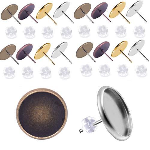 Jdesun 40 Stück (20 Paar) Ohrring Rohlinge Ohrstecker mit Fassung Rohlinge für 10mm Cabochons mit 40 Stück Gummi Ohrring Ohrstopper zum Schmuck basteln - 4 Farben