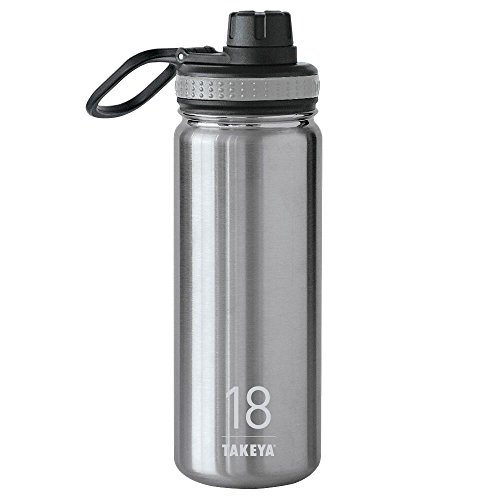 Takeya Originals Vacuum-Insulated Stainless-Steel Water Bottle, 18oz, Steel
