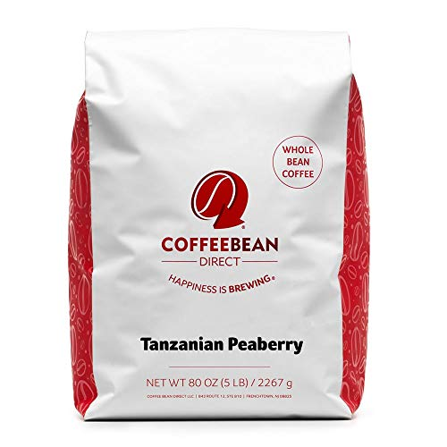 Coffee Bean Direct Tanzanian Peaberry, Whole Bean Coffee, 5-Pound Bag