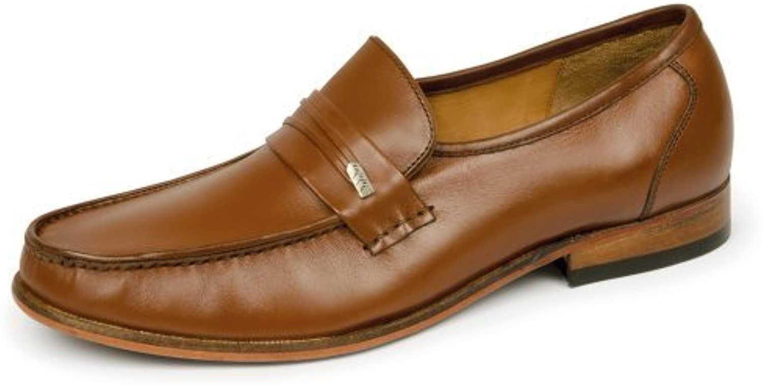 Samuel Windsor Men's Handmade Italian Leather Penny Loafer shoes Brown Tan