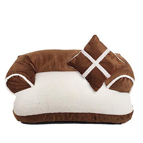 XYBB Huisdierbed, zacht dubbel kussen, hondensofa, verwarmend puppyhuisje, voor honden, kattennest, slaapmatten, huisdierbenodigdheden, 60x40cm, bruin