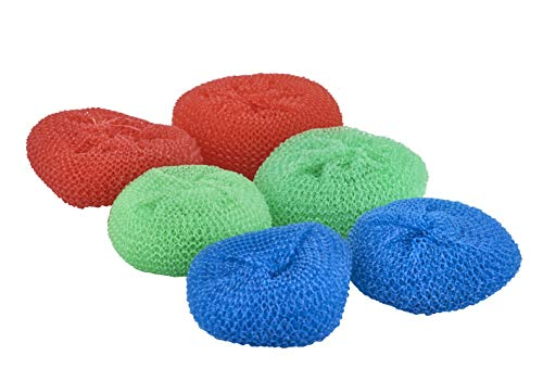 Superio Nylon Scouring Pads - 6 Pack Assorted Colors Round Plastic Dish Scrubbers, Mesh Scourers