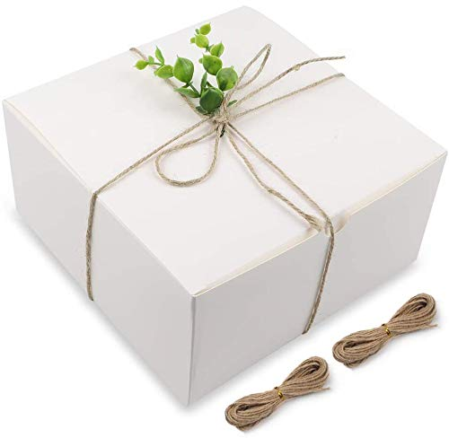 Moretoes White Boxes Gift Boxes 12pcs 8x8x4 Inches, Paper Gift Boxes with Lids for Gifts, Bridesmaid Proposal Box, Cupcake Boxes, Crafting