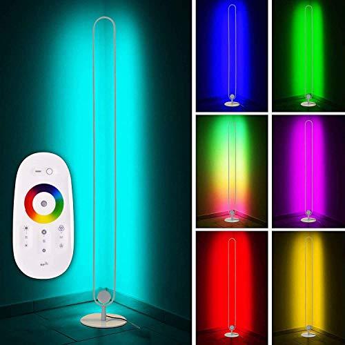 LED Eck Stehlampe, RGB Farbwechsel Lampe Nordic Stehlampe mit dimmbarer Fernbedienung, Stehlampen für Wohnzimmer Schlafzimmer Home Decoration, Weiß