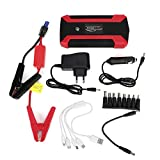 Aramox Car Power Bank, 20000mAh Multifuncional Car Jump Starter 4 Cargador USB Batería 12V Power Bank 110V-240V Arrancador de emergencia Arrancador de emergencia(EU Plug)