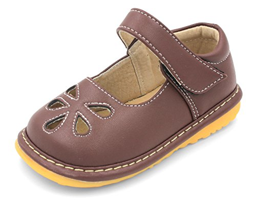 Little Mae's Boutique Toddler Shoes | Squeaky Brown Flower Punch Mary Jane Toddler Girl Shoes (3)