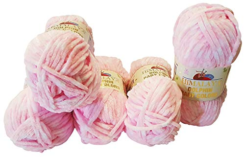 Himalaya 5 x 100 Gramm Strickwolle Dolphin Baby Colours Mehrfarbig, 500 Gramm Wolle super Bulky (rosa weiß 80424)