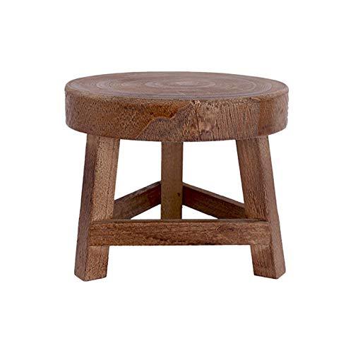 GSDGV Mini taburete de madera, soporte de madera maciza, estante de almacenamiento duradero para salón, oficina, hotel, plantas, decoración rústica (tamaño: 17,78 x 15,24 cm)