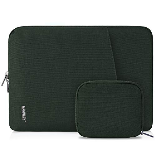 NEWHEY Laptop Sleeve Case 15-15.6 Inch Water Repellent Laptop Cover Bag Shock Resistant Notebook Protective Bag with Small Case Dark Green