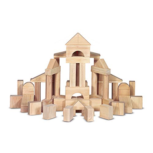 Melissa & Doug Standard Unit Solid-Wood Building Blocks With Wooden Storage Tray (60 pcs)