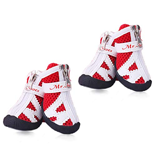 XXXS Dog Shoes Tennis Running - Small Dogs Boots Breathable Mesh Paw Shoes - House Dog Shoes Non Slid Stay On Indoor Shoe for Poodle/YorkshireTerrier/Chihuahua (Red Size 2)