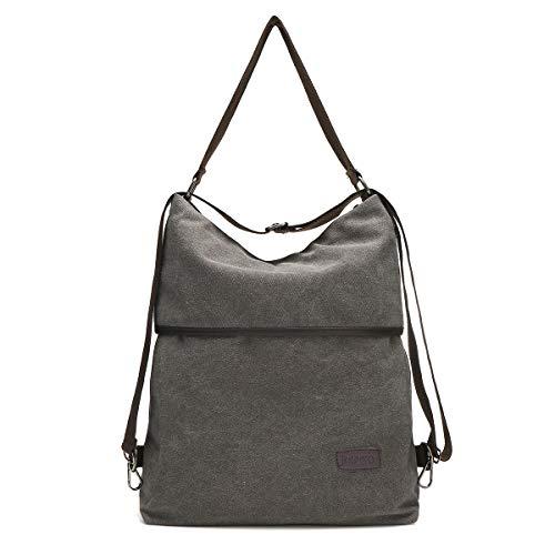 JOSEKO Canvas Tasche Segeltuch Schultertasche Damen Rucksack Handtasche Vintage Damen Umhängentasche für Reise Outdoor Schule Einkauf Alltag Büro (Grau)