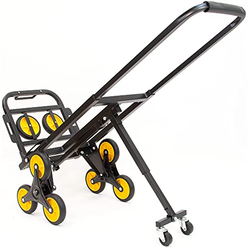Mount-It! Stair Climbing Dolly - 3 Wheel Stair Climbing Cart   Easily Lift Heavy Items Up and Down Steps   Holds 330 Pounds and Smoothly Rolls on Variety of Surfaces - Portable Dolly for Stairs