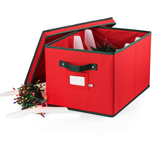 ZOBER Christmas Light Storage Box - Premium 600D Oxford, with 4 Plastic Light Storage Wraps, to Store Up to 800 Holiday Christmas Lights Bulbs, Reinforced Stitched Handles 5 Year Warranty