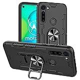 FANFO® Standfunktion Hülle kompatibel mit Motorola Moto G8 Power Tasche mit 360° Drehring Ständer [Kann Bier öffnen][Arbeiten mit magnetischer Autohalterung], Schwarz