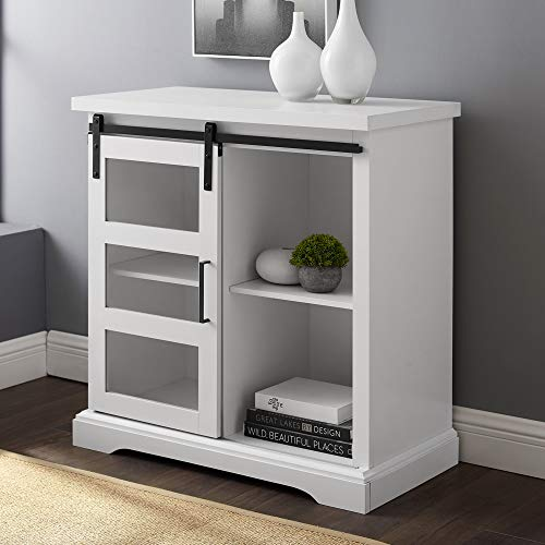 Walker Edison Furniture Company Modern Farmhouse Buffet Entryway Bar Cabinet Storage Entry Table Living Room, 32 Inch, White