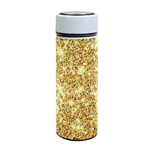 Ahomy Vakuum-isolierte, auslaufsichere Thermobecher, goldfarbener Glitzer-Hintergrund aus Edelstahl, 500 ml