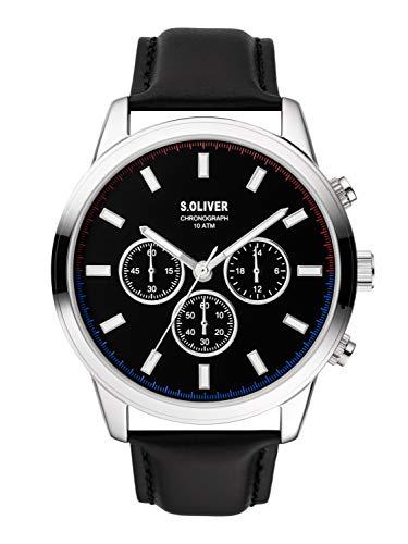 s.Oliver Herren Chronograph Quarz Uhr mit Leder Armband SO-3858-LC