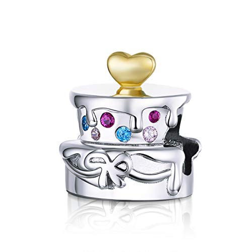 Birthday Cake Bead Charm 925 Sterling Silver Charms Birthday Charm for Pandora Bracelet,Compatible with European Bracelet Charm (Colorful Crystal Cake)