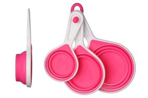 Premier Housewares - Juego de 4 tazas medidoras plegables, color rojo -...