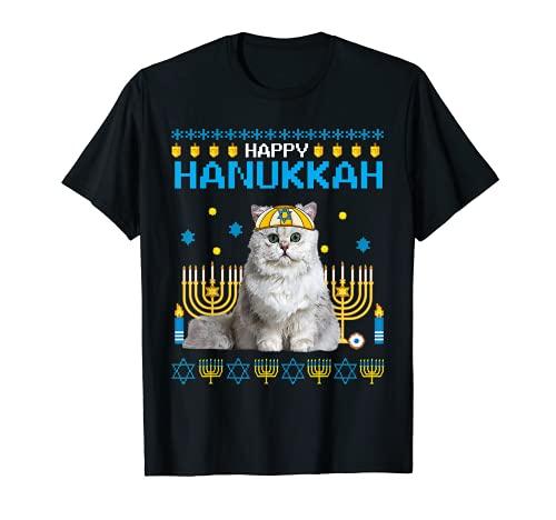 Cat Chanukah Jewish Ugly Hanukkah Sweater Pajama T-Shirt