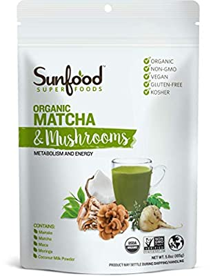 Sunfood Superfoods Matcha & Mushrooms | Powder Drink Mix for Metabolism and Energy | Great Substitute for Coffee | Organic, Non-GMO, Vegan, Gluten-Free, Kosher | 5.82 oz Bag