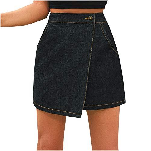 Jeans Mini-Rock,Damen Rock,sexy Unregelmäßig mit Tasche Engen Jeansrock,Damen Kurzer Rock Jeansrock Minirock mit Destroyed-Look aus Stretch-Material Damen Jeansrock Zerrissene Roher