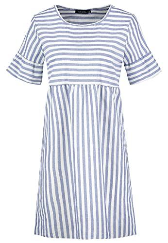 Sublevel Damen Babydoll Sommer-Kleid gestreift Light-Blue M/L