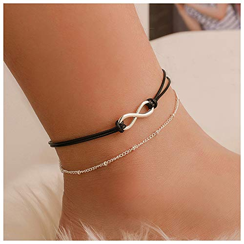 Anglacesmade Bohemia Layered Black Leather Anklet Infinity Knot Charm Pendant Foot Chain Boho Beach Foot Jewelry for Women and Girls