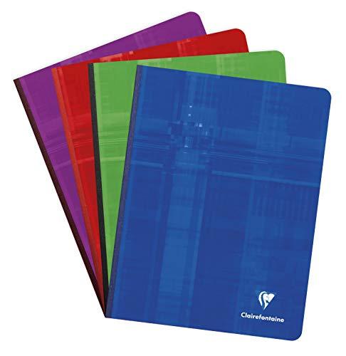 Clairefontaine 69741C -Cuaderno cosido (Lomo de tela) A5 MAXI rayado francés (Séyès) de 192 páginas, colores surtidos