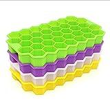 AHURGND 4 PCS Silicone Ice Cube Beays Forma a nido d'ape, Gel di silice alimentare Flessibile e BPA GRATIS, 37 cubetti di ghiaccio ciascuno, stampi per cubetti di ghiaccio per bevande refrigerate, whi