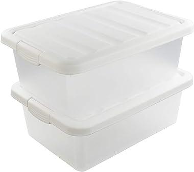 Wekiog Versatile Storage Organizer Plastic Bins with Lids, White 2 Packs, 14 Quart.