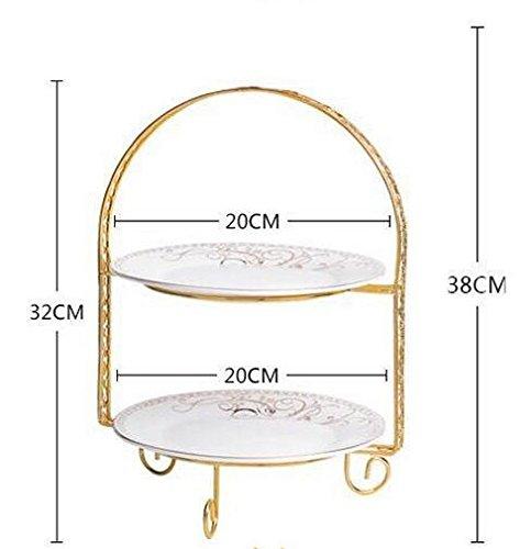 YBKTechケーキスタンド多層ゴージャスな金枠プレートアフタヌーンティー皿セット北欧の風(2段-A)