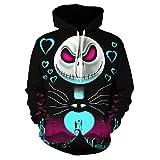 Tang.Chao Mens The Nightmare Before Christmas Jack & Sally Skellington 3D Printed Sweatshirts Hoodie Black1 XL