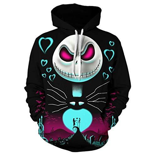 Tang.Chao Mens The Nightmare Before Christmas Jack & Sally Skellington 3D Printed Sweatshirts Hoodie Black1 XXL